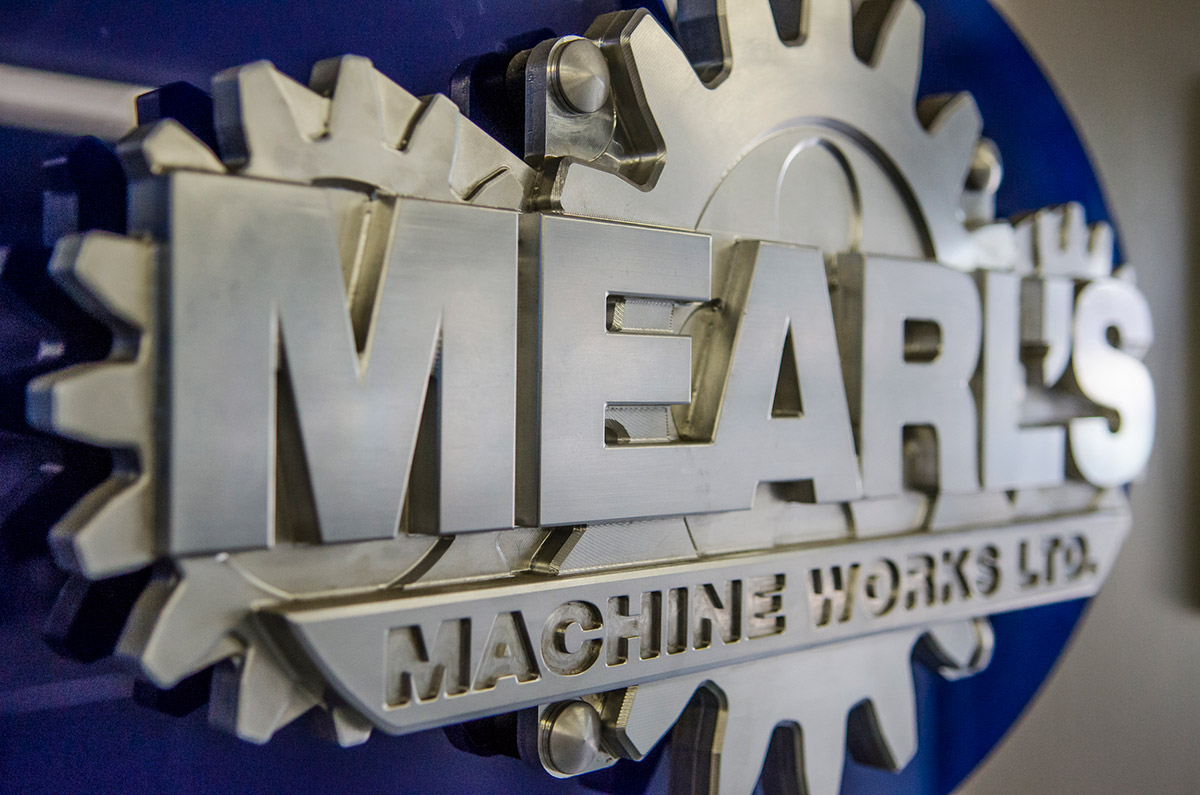 Mearl's logo inside machine shop