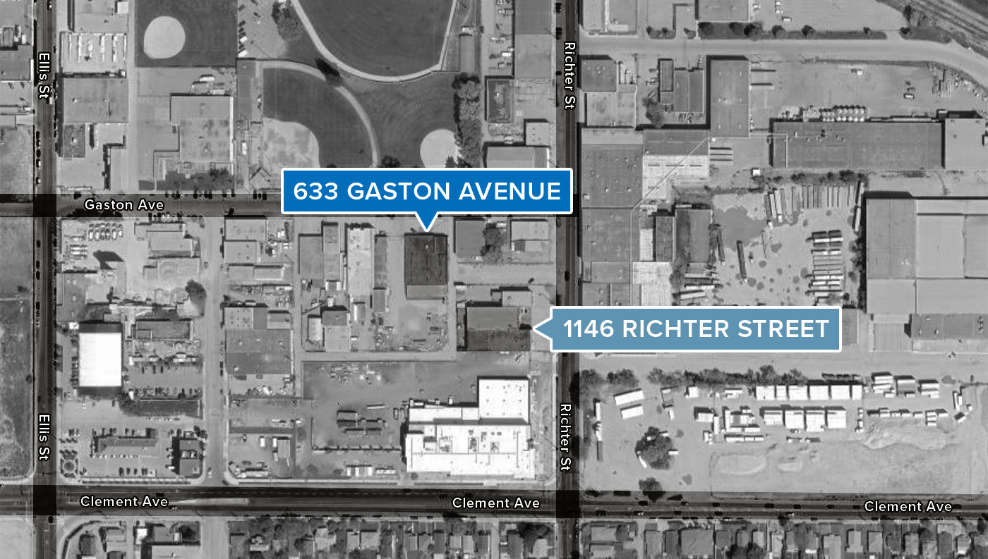 Graphical road map showing Mearl's Machine Works locations on Gaston Ave and Richter Street